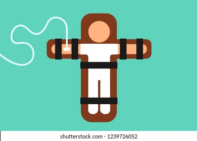 Death penalty and capital punishment in the execution chamber - male prisoner and criminal is lying on the bed and is killed and executed by lethal injection. Vector illustration
