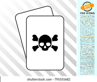 Death playing cards pictograph with 700 bonus bitcoin mining and blockchain pictograms. Flat vector pictograms for gambling and crypto- currency apps.