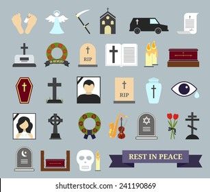 Death, ritual and burial colored icons. Web elements on the theme of death, the funeral ceremony. Vector illustration