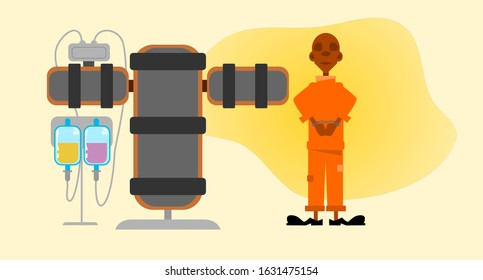 Death row. Death penalty executed by lethal injection. Vector illustration