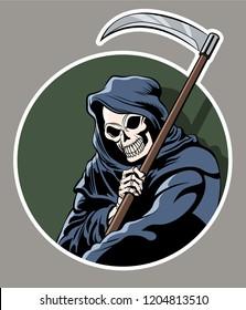 Death with Scythe. Halloween Sticker