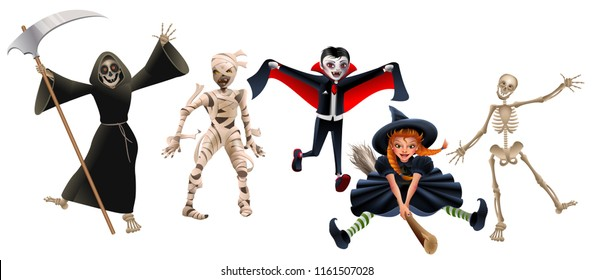 Death with scythe, mummy, dracula vampire, witch on broomstick and skeleton. Set characters Halloween Party. Isolated on white vector cartoon illustration