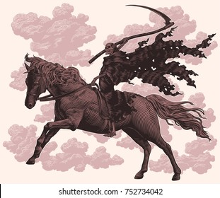 Death with a scythe rides a horse. Hand drawn engraving. Vector vintage illustration. Isolated on light background. 8 EPS