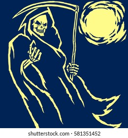 Death with a Scythe.Grim Reaper.Charon.Vector Illustration.