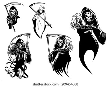 Death skeleton characters with and without scythe,  suitable for Halloween, logo, religion and tattoo design