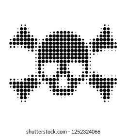Death skull halftone dotted icon. Halftone array contains circle pixels. Vector illustration of death skull icon on a white background.