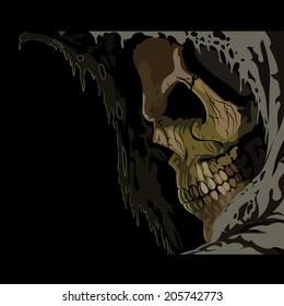 Death skull in hood. Horror vector illustration
