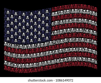 Death skull pictograms are arranged into waving United States flag abstraction on a dark background. Vector collage of America state flag is organized of death skull items.