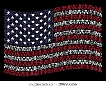 Death skull pictograms are organized into waving American flag mosaic on a dark background. Vector concept of American state flag is made from death skull items.