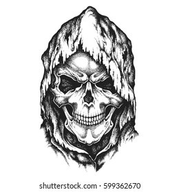 Death Skull In Worn Hood Hand Drawn Vector Illustration