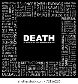 DEATH. Word collage on black background. Vector illustration. Illustration with different association terms.