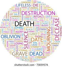DEATH. Word collage on white background. Vector illustration. Illustration with different association terms.