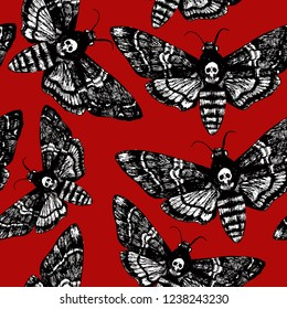 Death's head hawk moth. Hand drawn vector seamless pattern for your natural design