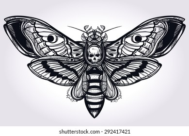 Deaths head hawk moth hand drawn silhouette. Design tattoo art. Elegant Isolated vector illustration. Trendy Vintage element. Dark romance, philosophy, spirituality, occultism, alchemy, death, magic.