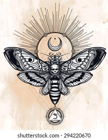 Death's head hawk moth with moons, light rays, geometry lines, Saturn sign. Design tattoo art. Isolated vector illustration. Trendy Vintage element. Dark romance, occultism, alchemy, death, magic.