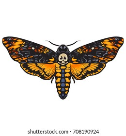 Death's-head hawkmoth. Halloween decoration. Hand drawn vector illustration isolated on white background. Skull moth butterfly design for tattoo, t-shirt print, poster, coloring book.