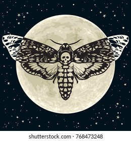 Death's-head hawkmoth on the full Moon and night sky background. Black and white  Skull moth butterfly design for tattoo, t-shirt print, poster. Hand drawn vector illustration isolated.