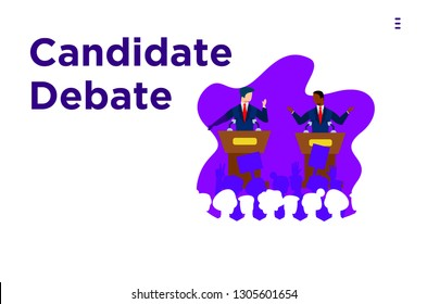 debate candidates. online debate. Vote text.Presidential Text Election Day Symbolic Elements White background.