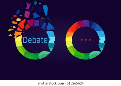 The debate or discussion logo. Colored broken pieces in the shape of dialog cloud icon.