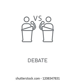 Debate linear icon. Debate concept stroke symbol design. Thin graphic elements vector illustration, outline pattern on a white background, eps 10.