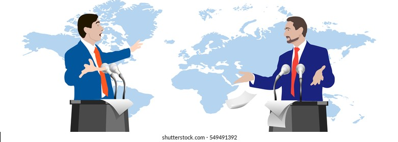Debate speakers on world map background. Dispute. Gestures hands. Persuasions. Rhetoric. Oratory. Public. Political. Corporate. Stock vector illustration. Header. image. Picture. Persuasion. Influence