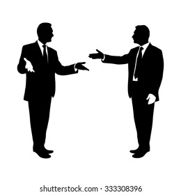 Debate two speakers in dialogue using energetic gestures. Men gave a speech very active. TOP Communication. Black and white, Illustration. Image. Vector. Icon.