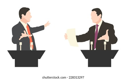 Debate two speakers. Political speeches, debates, rhetoric, interview, set. Broad and expressive hand gestures.