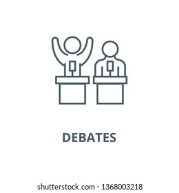 Debates,lecture,cogency,persuasion line icon, vector. Debates,lecture,cogency,persuasion outline sign, concept symbol, flat illustration