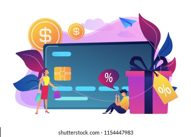 Debit card, gift box and users. Online card payment and plastic money, bank card purchase and shopping, e-commerce and secure bank saving concept, violet palette. Vector isolated illustration.