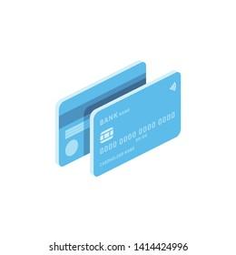 Debit or credit Card money coins isometric illustrate 3d vector icon. Design creative idea.