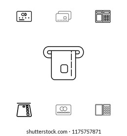 Debit icon. collection of 7 debit outline icons such as credit card, atm. editable debit icons for web and mobile.