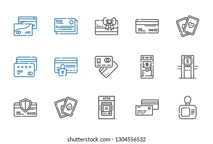 debit icons set. Collection of debit with card, credit card, atm, cards, debit card. Editable and scalable icons.