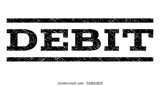 Debit watermark stamp. Text tag between horizontal parallel lines with grunge design style. Rubber seal stamp with unclean texture. Vector black color ink imprint on a white background.