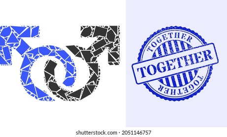 Debris mosaic gay pair symbol icon, and blue round TOGETHER grunge seal with caption inside round form. Gay pair symbol mosaic icon of shard particles which have variable sizes, and positions,