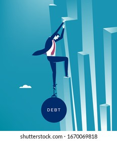 The debt. Businessman climbs a cliff a large iron ball pulls his leg down. Business vector  illustration.
