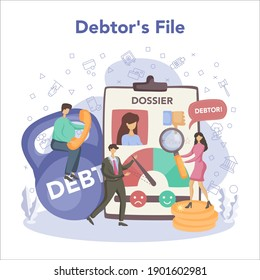 Debt collector concept. Pursuing payment of debt owed by person or businesses company. Collecting agency looking for people who doesn't pay bills. Vector illustration in cartoon style