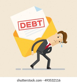 Debt concept. Man in suit, businessman bears a debt on his back . Vector, illustration, flat