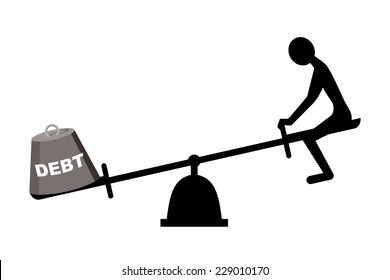 debt concept, seesaw with man and debt weight