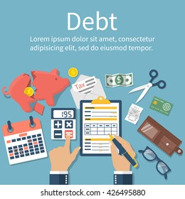 Debt concept vector flat design.