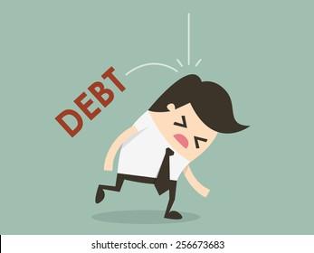 Debt falling on businessman head