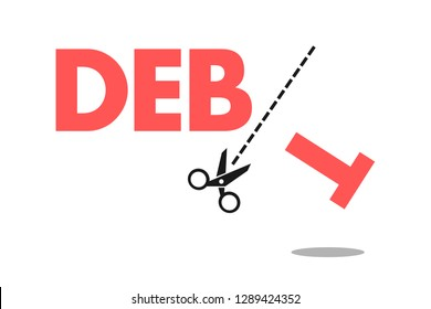 Debt forgiveness, elimination, cancellation and relief - financial loan, liability and leverage is cancelled by scissors. Economic help for debtors. Vector illustration