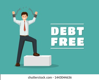 Debt free flat vector banner template. Cheerful man with broken chains celebrating financial independence with victorious gesture. Cartoon debtor happy after paying off debts, bank loans