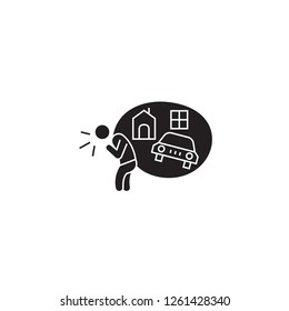Debt obligations black vector concept icon. Debt obligations flat illustration, sign