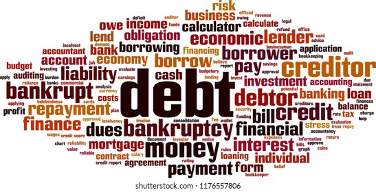 Debt word cloud concept. Vector illustration