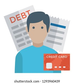 Debtor flat icon design