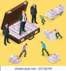 Debts on loans. People gives back debts on loan. Five hundred euro banknote.  Flat 3d vector isometric illustration. Design concept