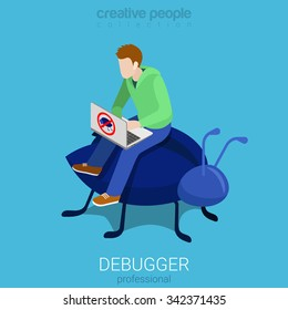 Debugger profession programmer code analytic debug process flat 3d isometry isometric concept web infographics vector illustration. Young man laptop sit on huge bug. Creative people collection.