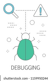 Debugging concept. Searching bug in computer software or script. Idea of programming and digital technology. Isolated abstract vector illustration
