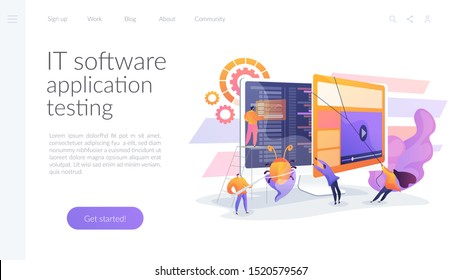 Debugging development process. Programmer work. Game programming. IT software application testing, quality assurance, QA team and bug fixing concept. Website homepage header landing web page template.