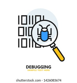 Debugging Flat Icon. Vector Illustration.